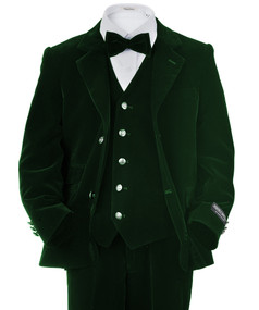 Toddler/Boy Green Velvet Suit 4 Piece