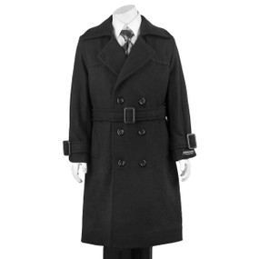 Boy's Black Double Breasted Hooded Dress Coat