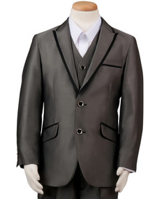 Boy's Gray Wedding Suit With Satin Trim