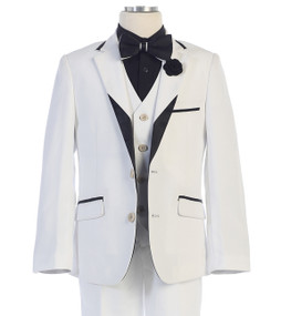 Boy's White 5 Piece communion Suit With Black/White Lapel