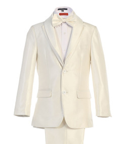 Boy's White 5 Piece communion Suit With Removable Black Or White Shawl Lapel