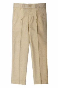 Boy's Slim Fit Beige Linen Look Pants