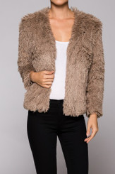 Soft Shag Hair Cropped Sleeve Jacket