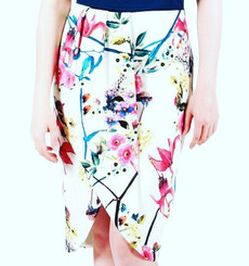 Pencil Skirt with Front Split and Wrap Illusion in a Spring Floral Print