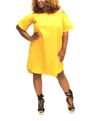 Short Sleeve Off the Shoulder Dress with High Low Hem in Mustard.