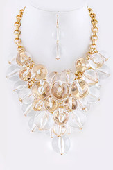 Clear Jumbo Crystal Beads with Gold Chain and Accents