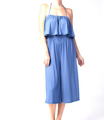 Culotte Romper with Ruffle Overlay, String Halter or Strapless options in Denim Blue
