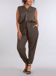 Button front Jumpsuit with drawstring, side pockets and hood.