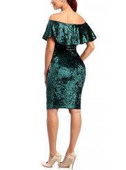 Off the Shoulder Crushed Velvet Dress in Hunter Green