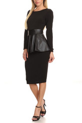 Long Sleeve Midi Dress with Leatherette Peplum