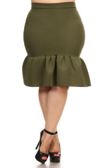 Fit and Flare Mermaid Skirt with Banded High Waist in Olive