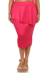 Peplum Midi Skirt with High Banded Waist in Pink