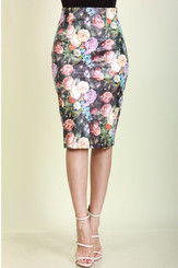 Leather Floral Print Midi Fitted Skirt with Side Zip.