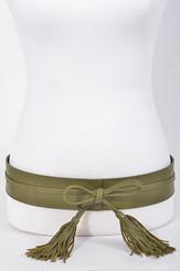 Kimono style wrap belt with fringe tassels
