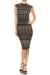 Aztec Print with Hints of Glittered Gold Bodycon Dress with mock neck and hidden zipper