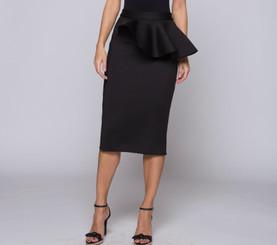 Midi Skirt with Asymmetric Peplum and Back Spilt