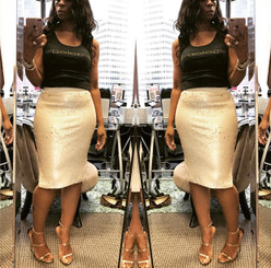 Ecru and Gold Sequins Pencil Skirt with side splits