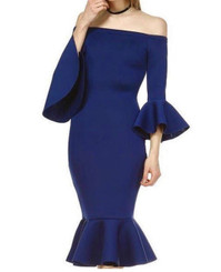 Navy Belle Sleeve Mermaid Midi Dress