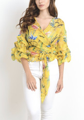 Yellow and Floral Chiffon Wrap Blouse with Accordion Sleeves