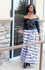 Pocketed Palazzo Pants with Belt and Bandeau in a Black and White Print