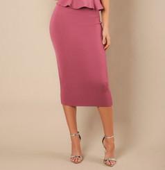 High waist bandage midi length pencil skirt in Marsala