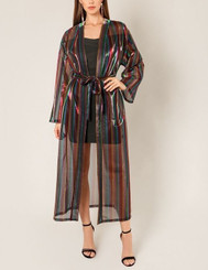 Striped multicolored metallic mesh belted duster with wide sleeves
