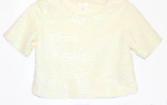 Speckeld Fur, A-line Low Crop Sweater in Winter White