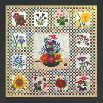 Checkerboard Flowers Quilt