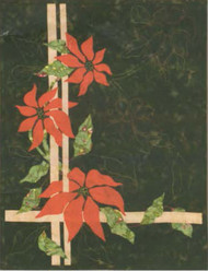 Three Poinsettia Wall Art Quilt