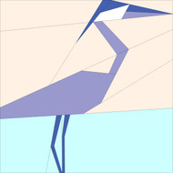 Blue Heron Paper Pieced Themed Greeting Card
