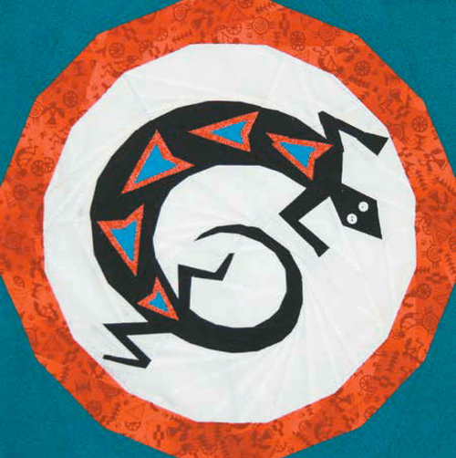 Mimbres Lizard Foundation Paper Piecing Quilt Block
