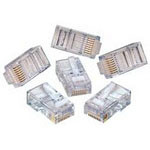 RJ45 Category 5e connectors (50µ gold plating, solid conductors, flat cable)