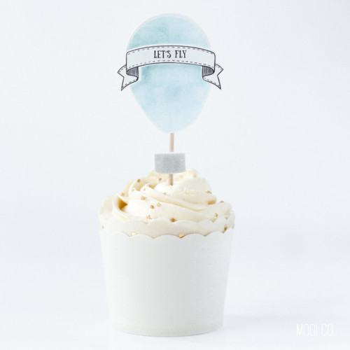 Cupcake Topper - Up Up and Away (set of 6)