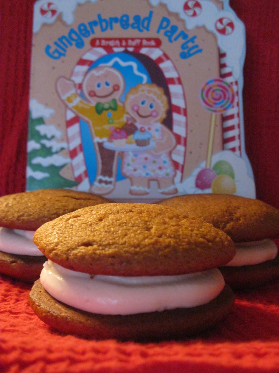 Dozen Mini Gingerbread Whoopie Pies (Traditional Cream Filling)