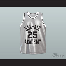The Fresh Prince of Bel-Air Alfonso Ribeiro Carlton Banks Bel-Air Academy Silver Basketball Jersey
