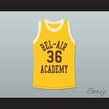 The Fresh Prince of Bel-Air Jazzy Jeff 36 Jazz Bel-Air Academy Yellow Basketball Jersey