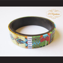 P Middleton Camagong Wood Bangle Elaborate Micro Inlay Design 1