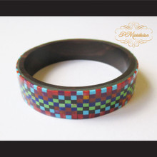 P Middleton Camagong Wood Bangle Elaborate Micro Inlay Design 3