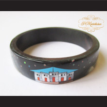 P Middleton Camagong Wood Bangle Elaborate Micro Inlay Design 8