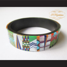 P Middleton Camagong Wood Bangle Elaborate Micro Inlay Design 10
