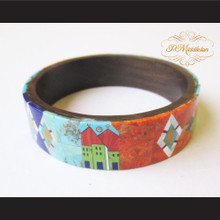 P Middleton Camagong Wood Bangle Elaborate Micro Inlay Design 12