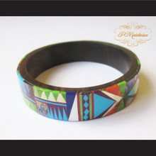 P Middleton Camagong Wood Bangle Elaborate Micro Inlay Design 13