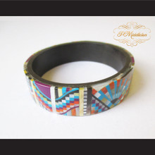 P Middleton Camagong Wood Bangle Elaborate Micro Inlay Design 16