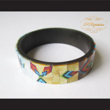 P Middleton Camagong Wood Bangle Elaborate Micro Inlay Design 17