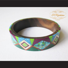 P Middleton Camagong Wood Bangle Elaborate Micro Inlay Design 18