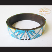 P Middleton Camagong Wood Bangle Elaborate Micro Inlay Design 19