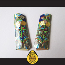 Boriz Handcrafted Pistol Grips 1911 Full Frame & Commander Elaborate Artistic Inlay Stone Design