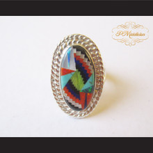 P Middleton Oval Multi-Color Micro Inlay Sterling Silver .925 Ring