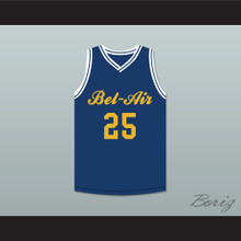 Carlton Banks 25 Bel-Air Academy Blue Basketball Jersey Deluxe