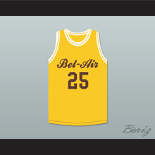 Carlton Banks 25 Bel-Air Academy Yellow Basketball Jersey Deluxe